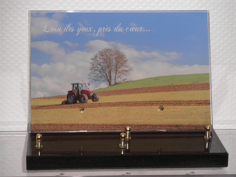 Plaque Tracteur Granit NOIR photo 30X15