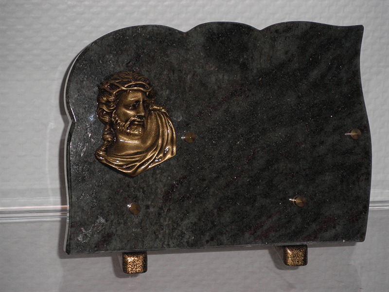 Plaque Granit VERTE 25X17 Bronze Christ