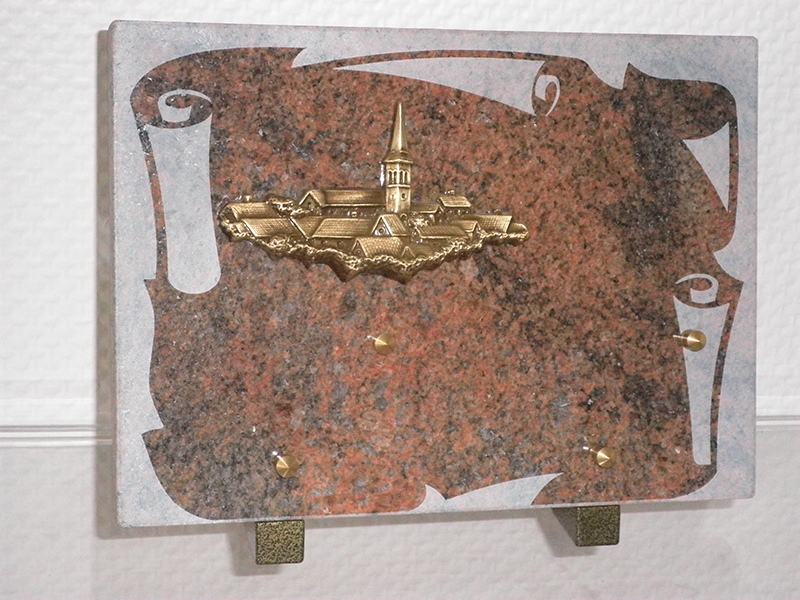 Plaque Granit Parchemin ROUILLE bronze Village 25X20
