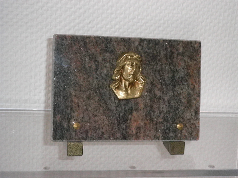 Plaque Granit Himalaya 18X12 Bronze Christ